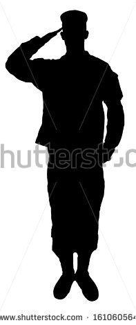 197x470 Saluting Army Soldier's Silhouette Isolated On White (Memorial Day