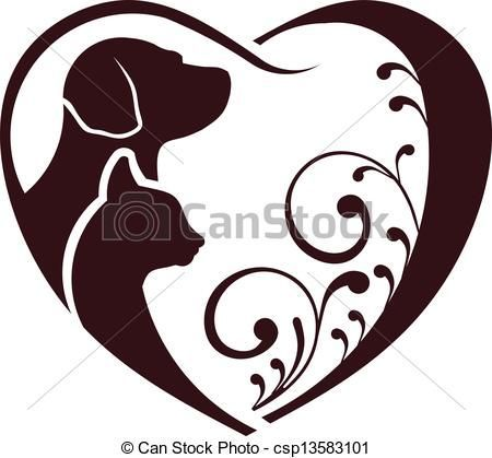 450x419 Cat Dog Love Heart