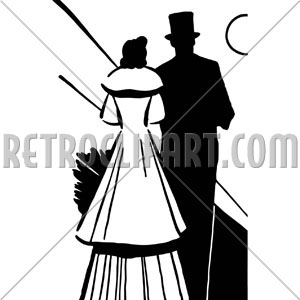 Victorian Couple Silhouette