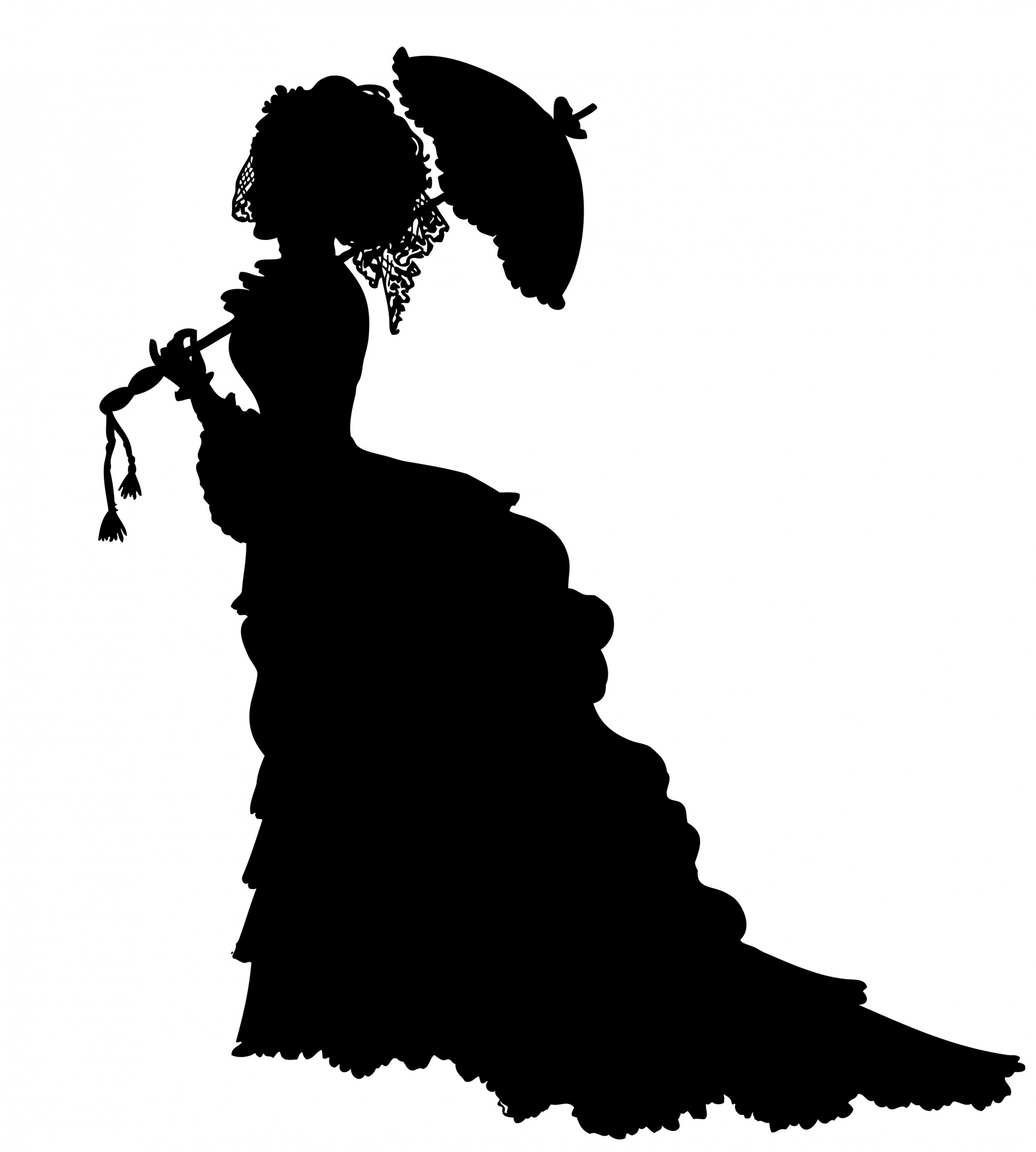 1727x1920 Victorian Lady Crinoline Silhouette Free Stock Photo