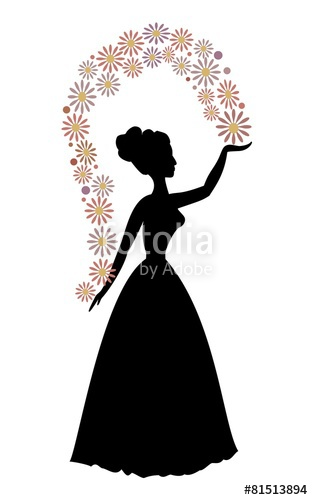 313x500 Vintage Vector Silhouette Of A Woman Throwing Flowers Stock Image