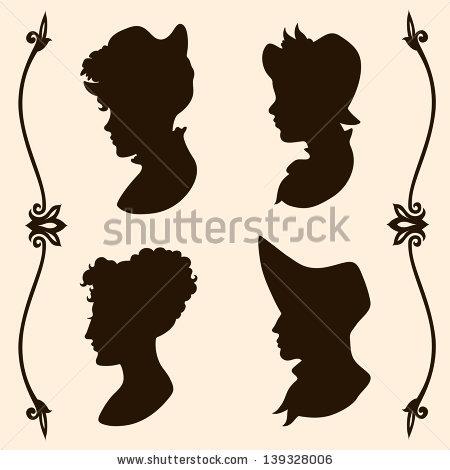 450x470 Victorian Silhouette Woman