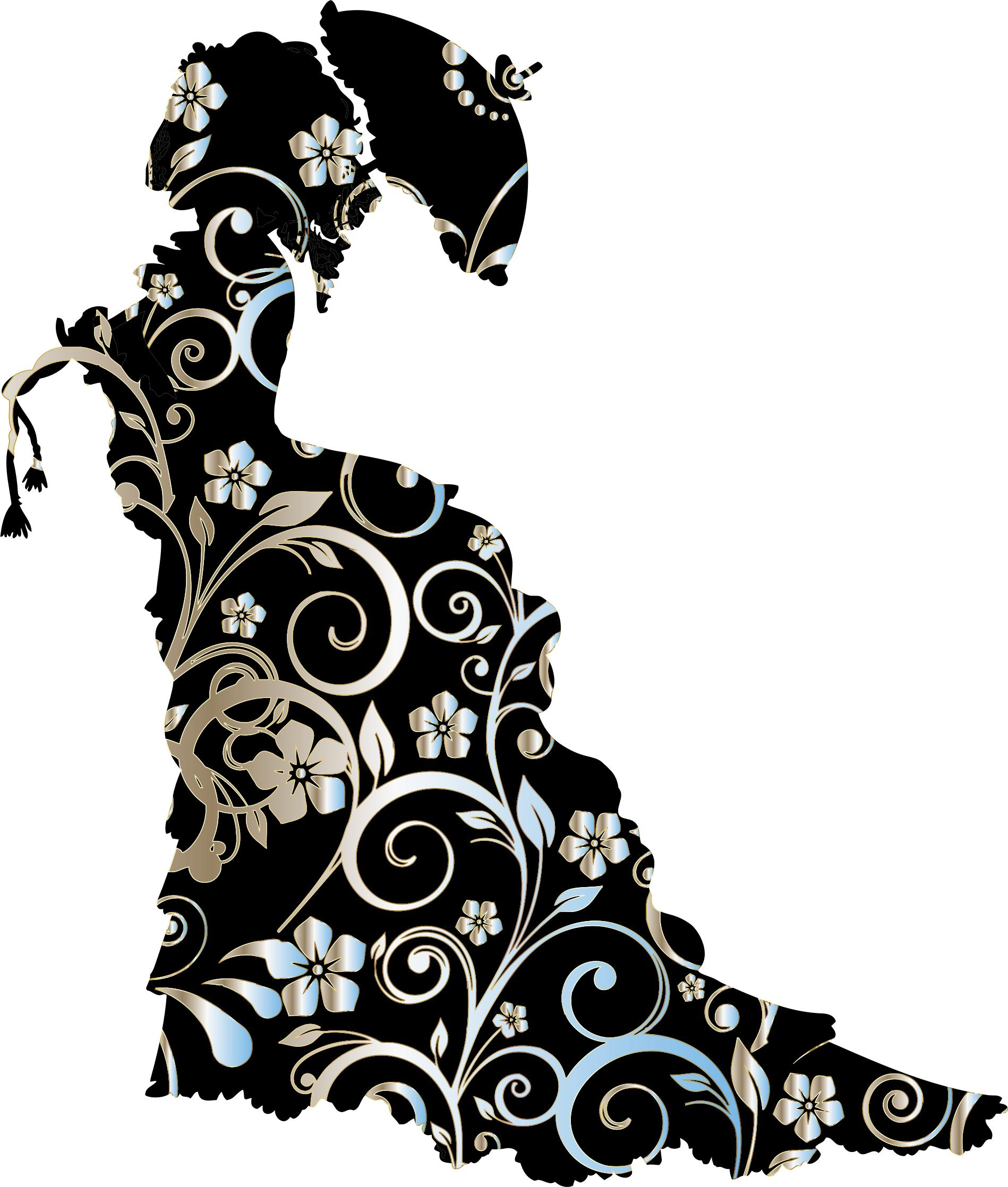 1898x2236 Chromatic Floral Vintage Victorian Lady Silhouette Icons Png
