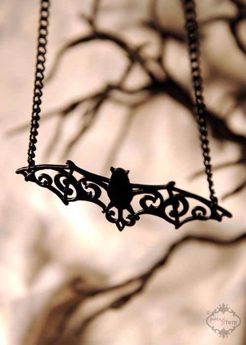 500x700 Filigree Bat Necklace In Black Stainless Steel