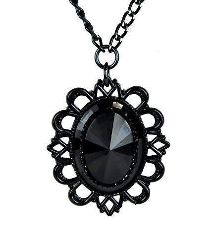 430x500 Large Black Stone Necklace With Black Victorian Setting