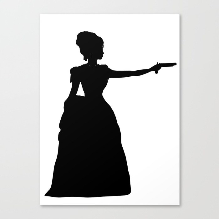 700x700 Duel Silhouette Lady Black And White Victorian Steampunk Canvas