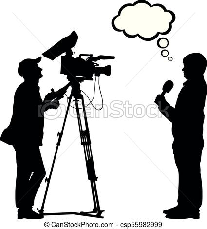425x470 Tv Reporter Shooting Cameraman Silhouette, Think Bubble Eps