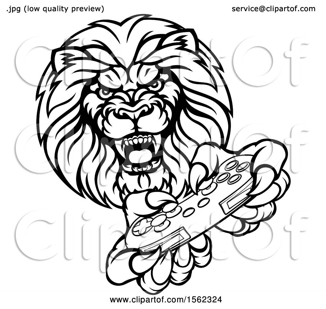 1080x1024 Clipart Of A Black And White Male Lion Holding A Video Game