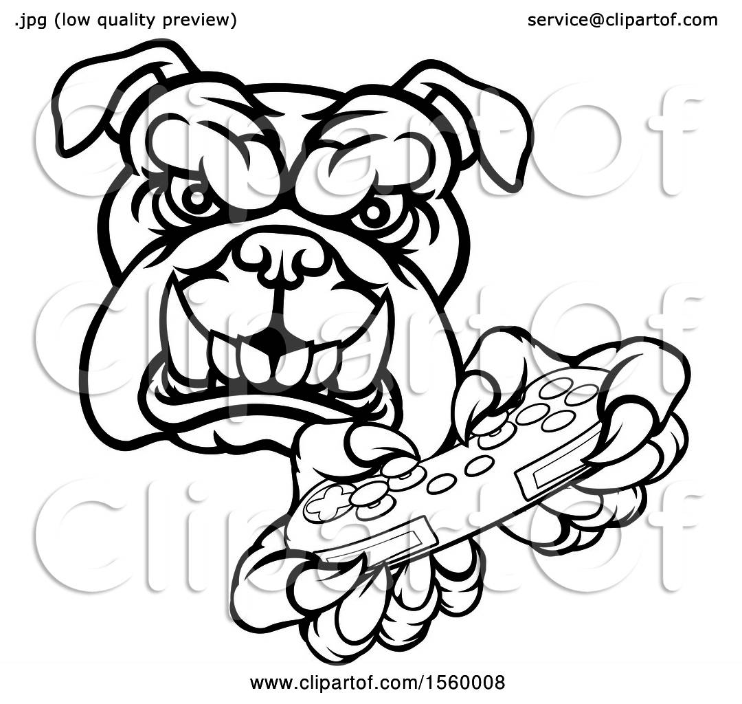 1080x1024 Clipart Of A Black And White Tough Bulldog Mascot Holding A Video