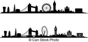 300x146 London Skyline Silhouette. London Skyline And Landmarks Vector