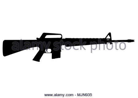 450x320 M16 Rifle Vietnam War Period Black Silhouette Stock Photo