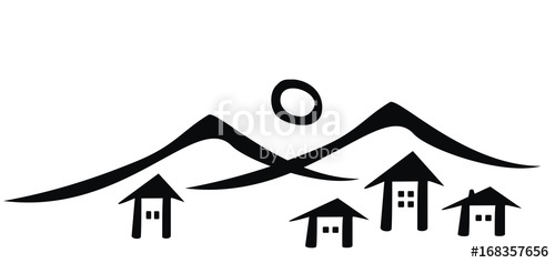 500x237 Mountain village, vector icon, black silhouette Stock image and