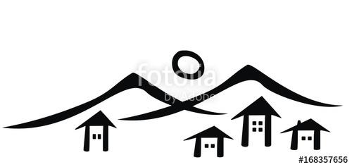 500x237 Mountain Village, Vector Icon, Black Silhouette Stock Image