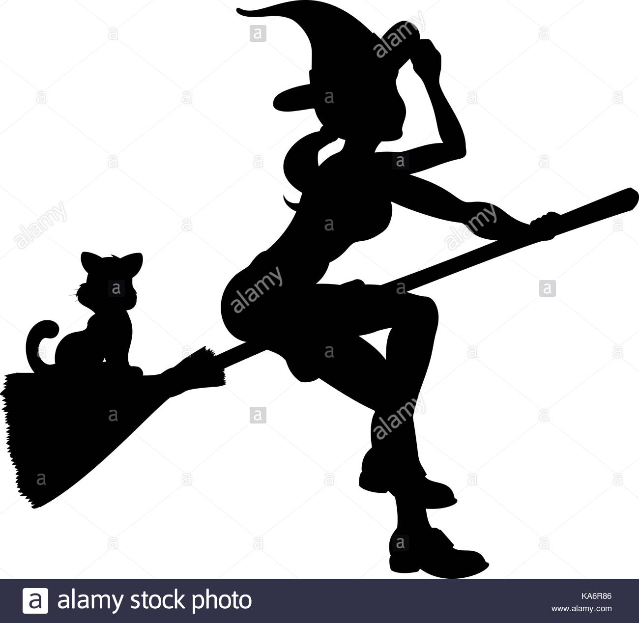 1300x1268 Halloween Witch Silhouette Flying Broomstick Stock Photos