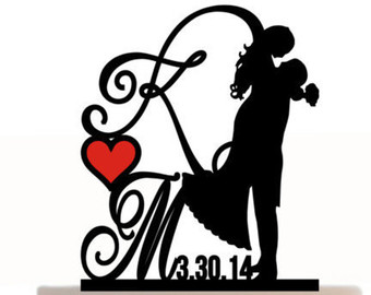 340x270 Personalized Silhouette Wedding Cake Topper In Acrylic
