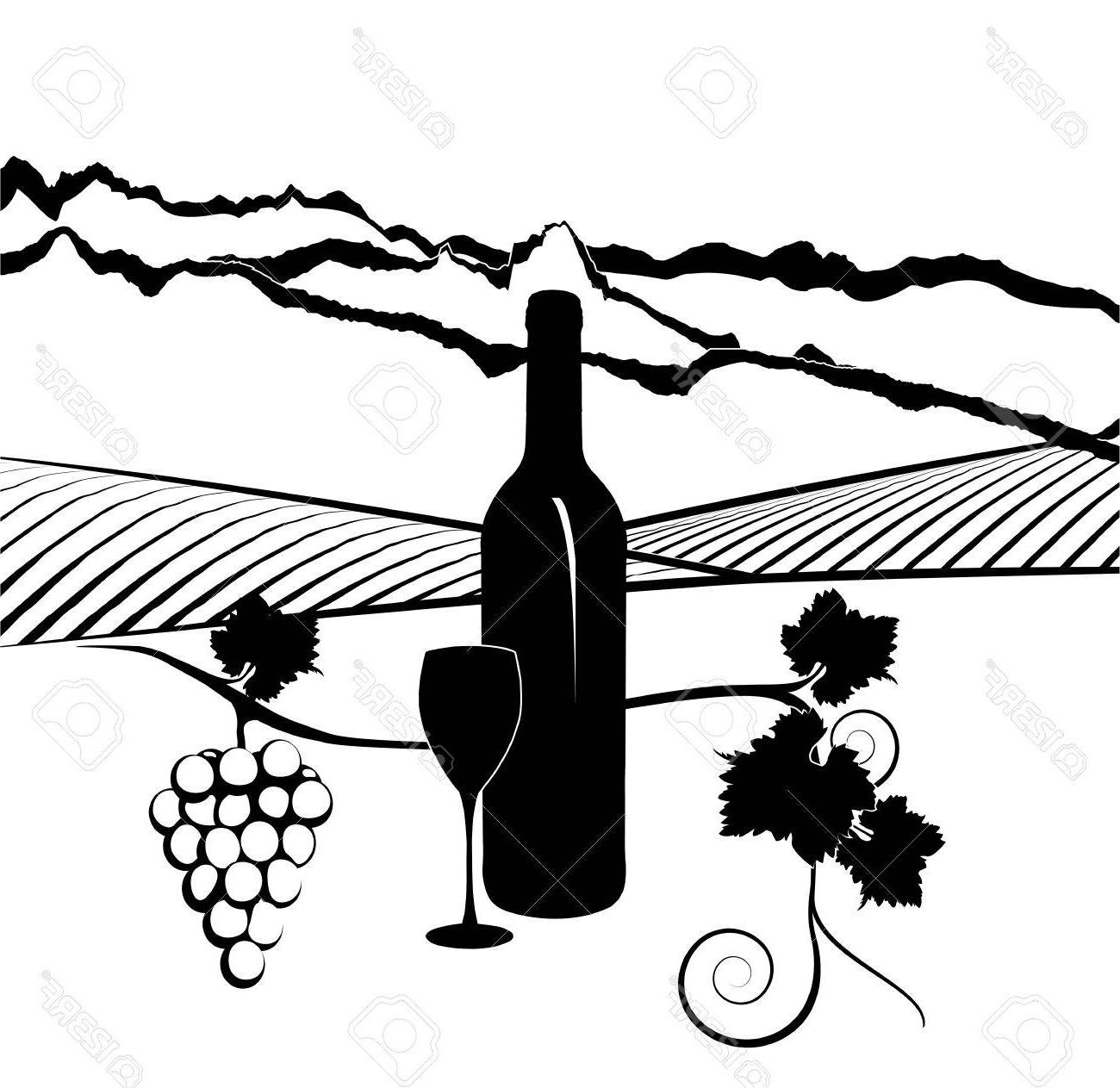1300x1263 Best 15 Silhouette Of Bottle Wine With Glass And Vineyard