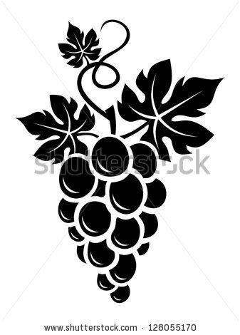 337x470 Black Silhouette Of Grapes. Vector Illustration. Drawings
