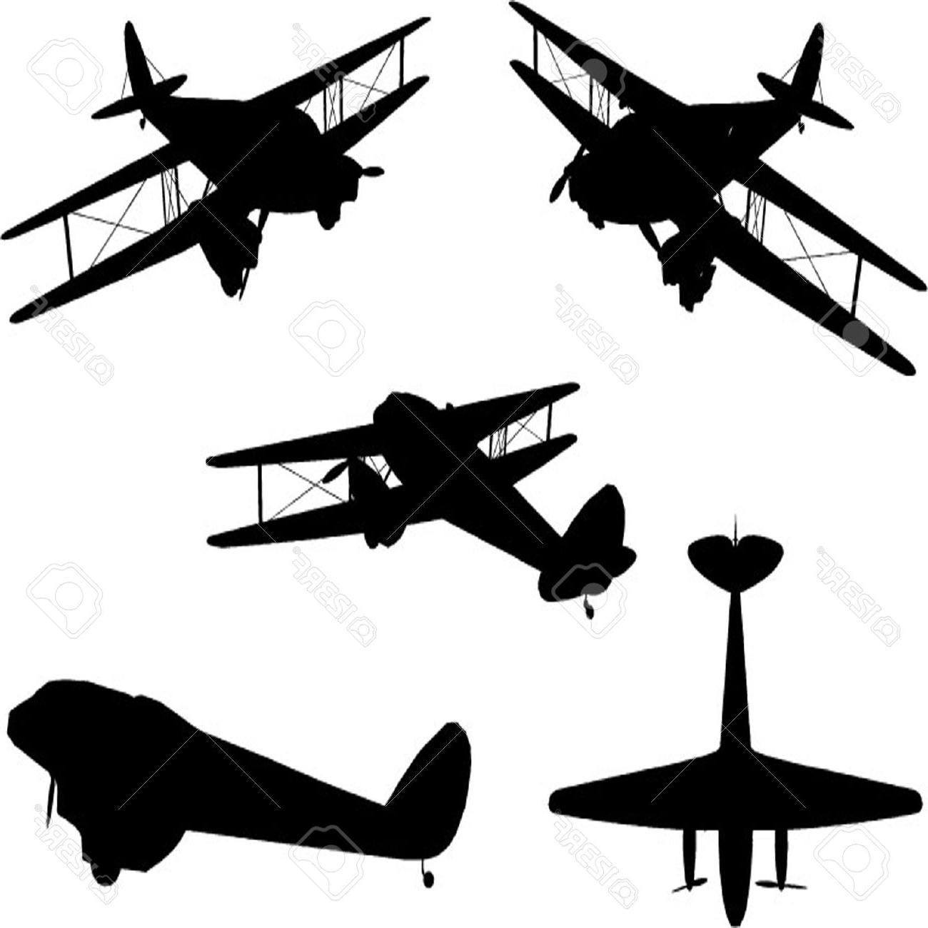 1300x1300 Top Vintage Plane Silhouette Set Drawing