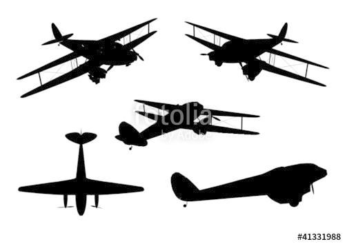 500x354 Vintage Plane Silhouette Set Stock Image And Royalty Free Vector