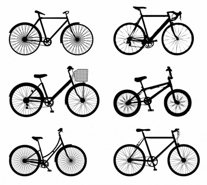 425x381 Vector Detailed Bike Silhouettes Vector Graphics