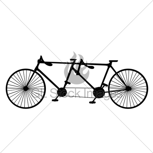 500x500 Vintage Silhouette Tandem Bicycle Icon Isolated On White Gl