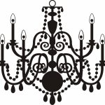 150x150 Lighting ~ Retro Chandelier Silhouette Royalty Free Cliparts