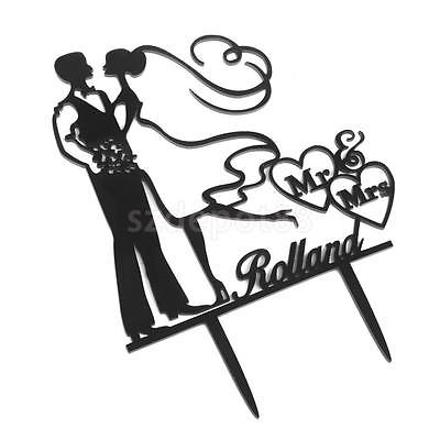 400x400 Vintage Wedding Cake Topper Black Acrylic Silhouette Groom