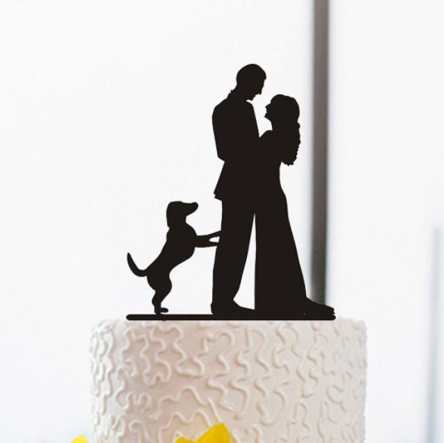 640x638 Wedding Cake Topper Silhouette Cake Topper With Dog Funny Cake