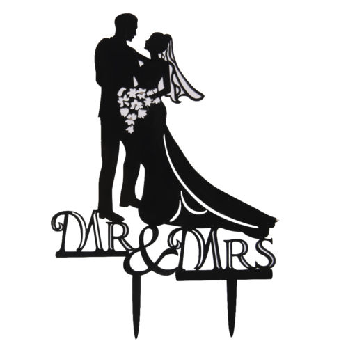 500x500 Acrylic Cake Topper Groom Bride Silhouette Wedding Cake Decoration