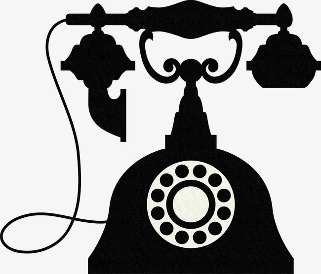 650x556 Old Telephone Black Silhouette Vintage Phone PNG Image