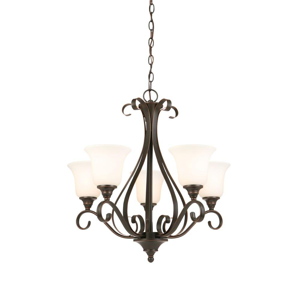 1000x1000 Hampton Bay 5 Light Oil Rubbed Bronze Chandelier With Frosted