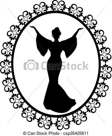 388x470 Diva A Carved Vintage Frame. Elegant Female Silhouette