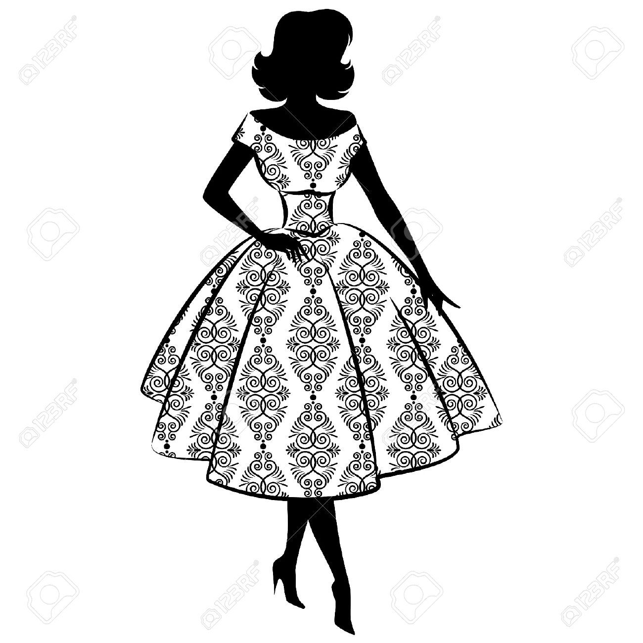 1300x1300 Lady In Traditional Dress. Silhouettes