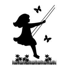 236x229 Silhouette Children Mural Decal Vintage Swinging Child Girl Wall