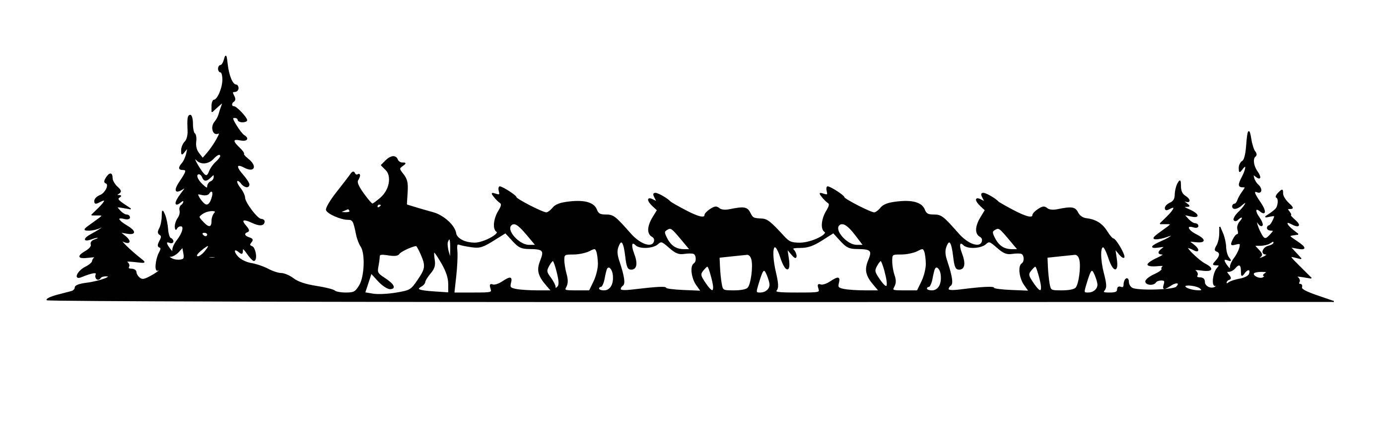 2784x864 Horse Mule Pack Train Trailer Decal Pack Train Horse