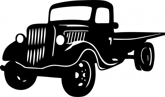 640x375 Antique Vintage Flat Bed Truck Silhouette Laser Cut Appliques