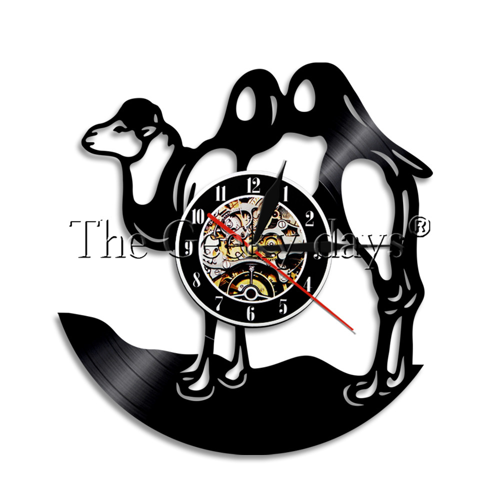 1000x1000 1piece Camel Silhouette Vinyl Record Wall Clock Desert Animal Wall