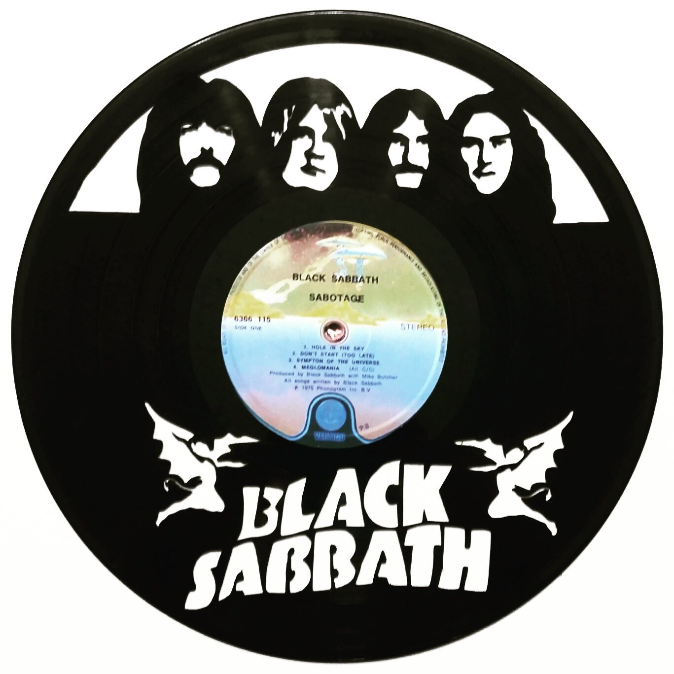 1367x1367 Black Sabbath, Band Members, Ozzy Silhouette Vinyl Record Art.
