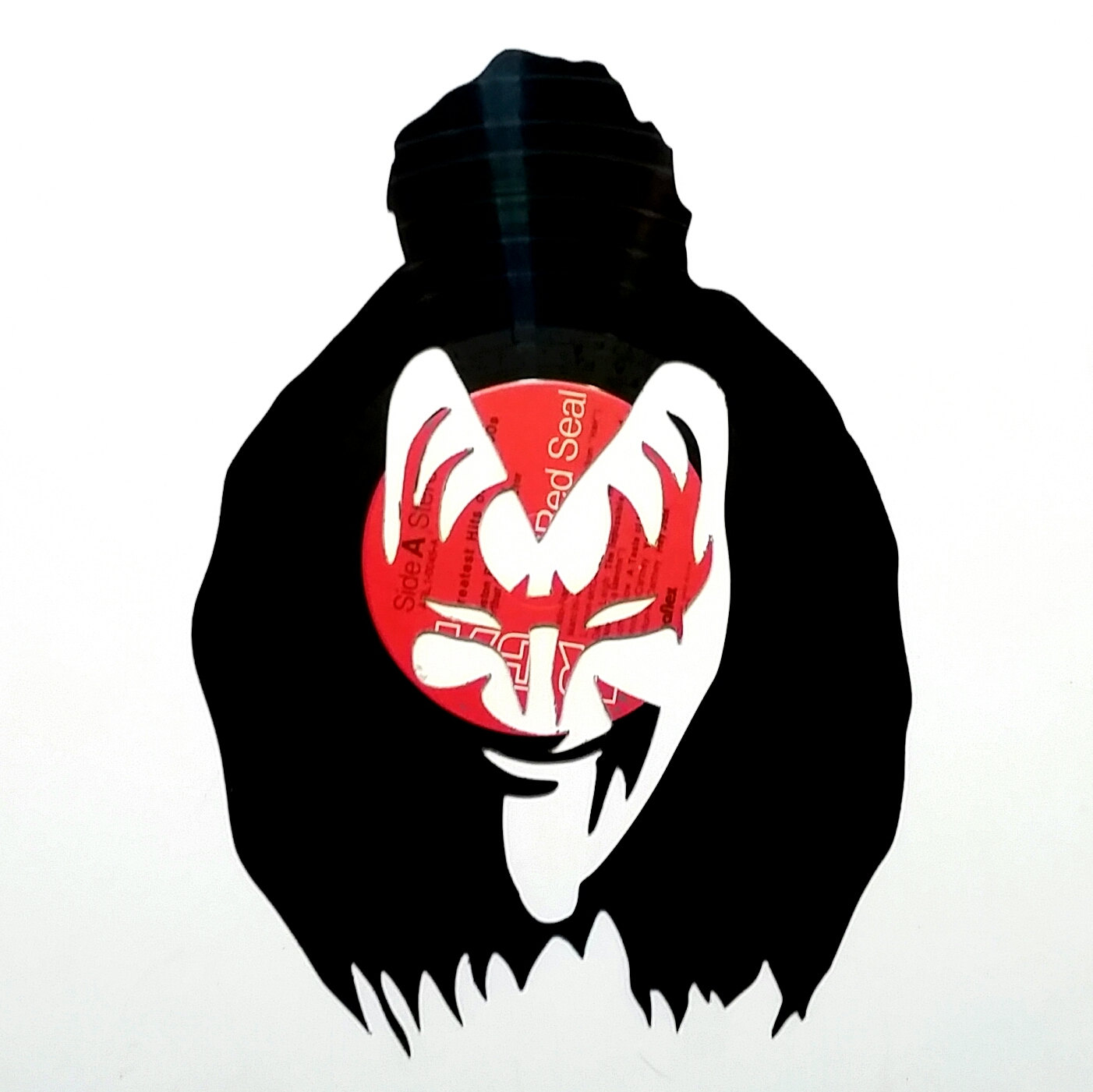 1402x1401 Gene Simmons, Kiss, Tongue Out Silhouette Vinyl Record Art.