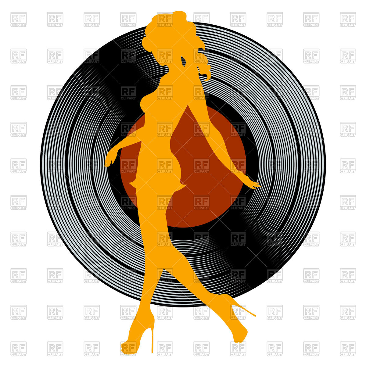 1200x1200 Silhouette Of Dancing Girl Against Vinyl Record Royalty Free