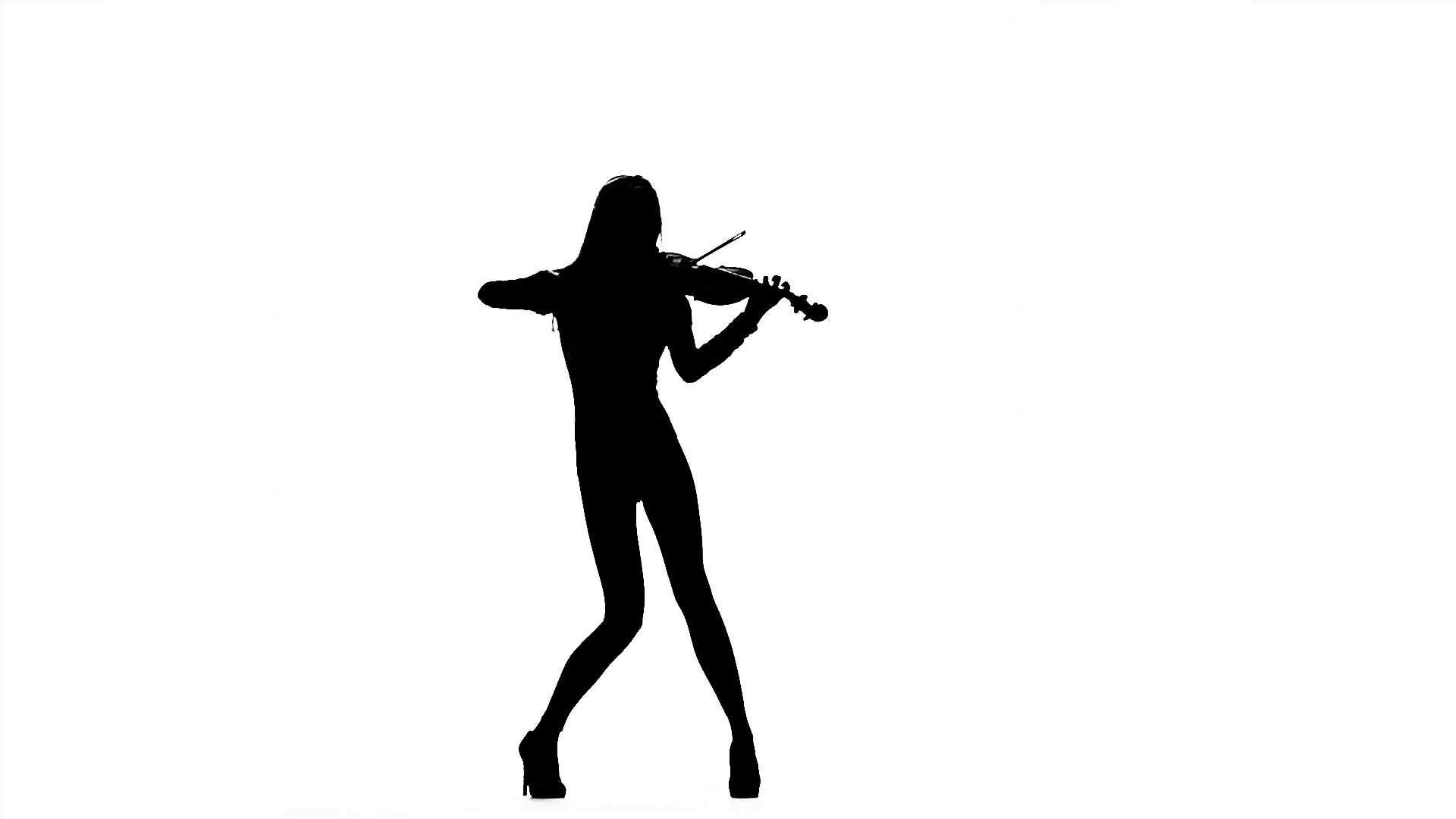 1920x1080 Girl Playing The Violin. Silhouette On White Background. Slow