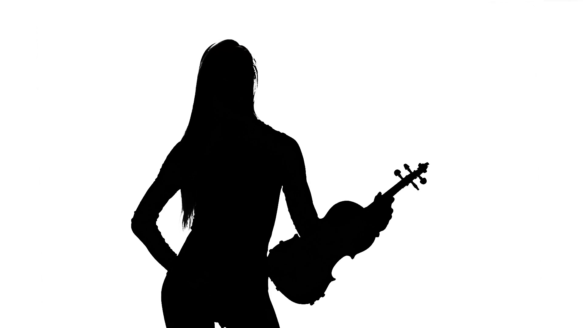 1920x1080 Violinist Silhouette On White Background. Slow Motion Stock