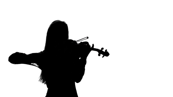 590x332 Woman Professional Violinist Playing The Fiddle. Silhouette By