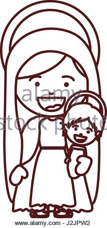 222x470 The Virgin Mary Carrying The Baby Jesus In Her Arms (Usson