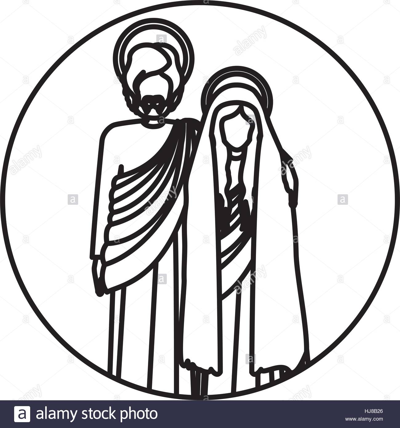 1300x1390 Circular Shape With Silhouette Virgin Mary And Saint Joseph