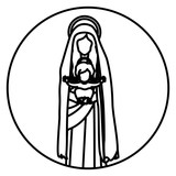 160x160 Circular Sticker With Silhouette Saint Virgin Mary With Baby Jesus