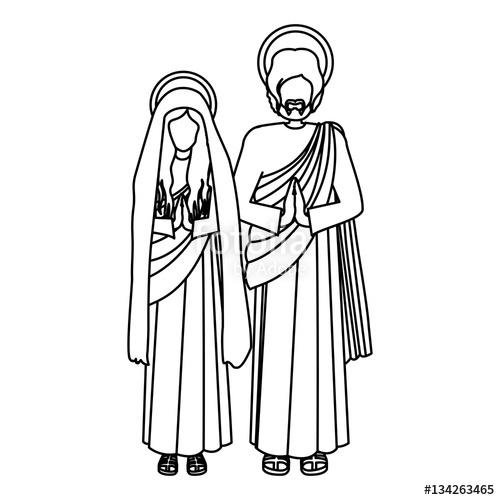 500x500 Silhouette Virgin Mary And Saint Joseph Praying Vector