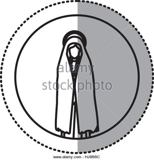 520x540 Circular Sticker Silhouette Virgin Mary Stock Photos Amp Circular