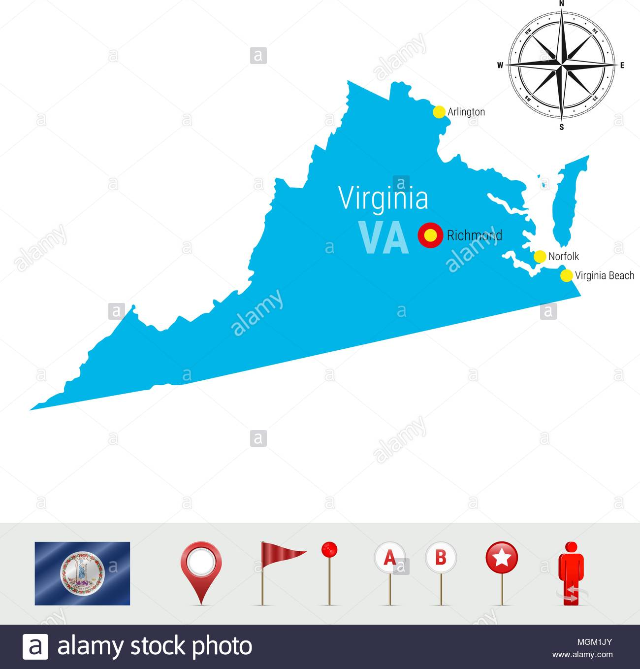 1300x1358 Virginia State Map Stock Photos Amp Virginia State Map Stock Images