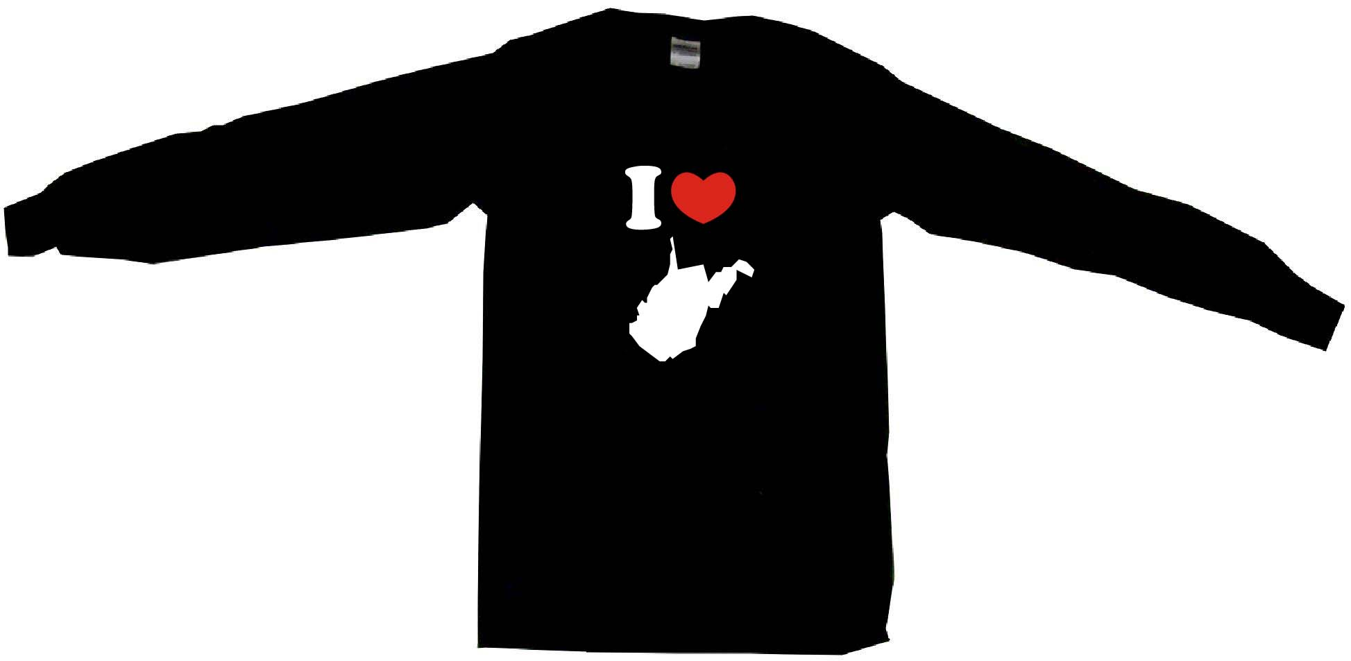 1947x953 I Heart Love West Virginia Silhouette Mens Tee Shirt Pick Size